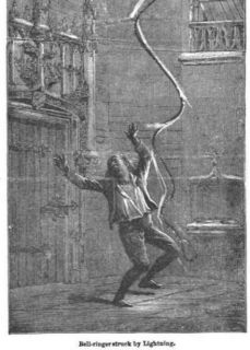 W. De Fonvielle, Bell-ringer struck by lightning, Illustrated Library of Wonders, as found at the end of Amédée Guillemin's, The sun, 1870